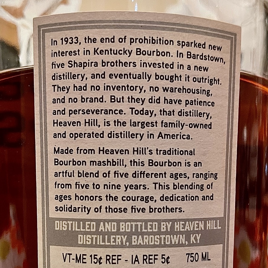 Five Brothers Bourbon Review Back Label
